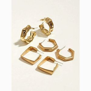 Gold Classic Octagonal Geometric Hoop Earrings